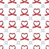 Vector seamless pattern of ribbons in the shape of heart. Symbol of fighting cancer. St. Valentine s Day, love royalty free illustration