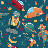 Vector seamless pattern with robots, spaceships and planets Stock Photo
