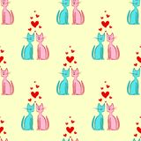 Vector Seamless Pattern of Romantic Couple Cats Stock Photo