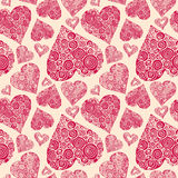 Vector seamless pattern with romantic decorative harts Royalty Free Stock Photo
