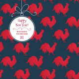 Vector seamless pattern with rooster, Chinese calendar. Stock Images