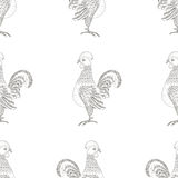 Vector seamless pattern. Rooster ornaments Stock Photos