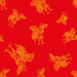Vector seamless pattern of rooster, symbol 2017 on the Chinese calendar. element for New Year design. Stock Photography