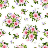 Vector seamless pattern with roses and freesia flowers. Vector seamless pattern with pink roses and purple freesia flowers and green leaves on a white Stock Image