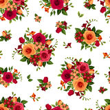 Vector seamless pattern with roses and freesia flowers. Vector seamless pattern with red and orange roses and freesia flowers and green leaves on a white Stock Photo