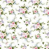 Vector seamless pattern with roses and freesia. Stock Photo