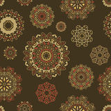 Vector seamless pattern with round floral ornaments Stock Images