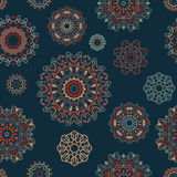 Vector seamless pattern with round floral ornaments Royalty Free Stock Image