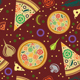Vector seamless pattern of round pizza, pizza slices. Stock Images