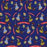 Vector seamless pattern with russian culture symbols. Vector seamless pattern with russian culture flat style design symbols. Matryoshka russian doll, balalaika Royalty Free Stock Photography