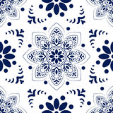Vector seamless pattern Russian pattern. Mandala, blue lace on white background. Wrapping paper, background blog or website page children`s album Royalty Free Stock Image