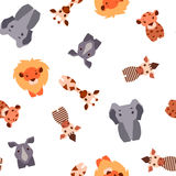 Vector seamless pattern with Safari animals Royalty Free Stock Photo