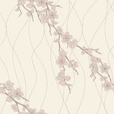 Vector seamless pattern with sakura branch Stock Images