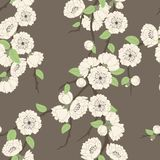 Vector seamless pattern with sakura branch Royalty Free Stock Photo