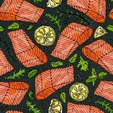 Vector Seamless Pattern of Salmon Fillet, Lemon, Herbs Rosemary, Marjoram, Parsley, Rocket Salad, Clove on Black Board. Background. Seafood Restaurant Menu Stock Photos