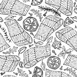 Vector Seamless Pattern of Salmon Fillet, Lemon, Herbs Rosemary, Marjoram, Parsley, Rocket Salad, Clove. Seafood. Restaurant Menu Healthy Food Savoyar Doodle Stock Photos