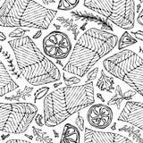 Vector Seamless Pattern of Salmon Fillet, Lemon, Herbs Rosemary, Marjoram, Parsley, Rocket Salad, Clove. Seafood. Restaurant Menu Healthy Food Savoyar Doodle Stock Images