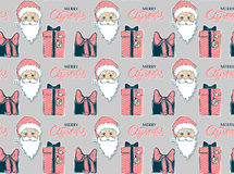 Vector Seamless pattern with Santa Claus and gift box. Merry Christmas and Happy New Year background. Beautiful winter backdrop. Xmas 2017.Cartoon Santa Stock Image