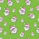Vector seamless pattern. Santa Claus on a green background vector illustration