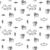 Vector seamless pattern with scalar fishes Royalty Free Stock Photos