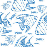 Vector seamless pattern with scalar fishes Royalty Free Stock Photo