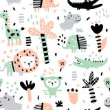 Jungle. Vector seamless pattern in scandinavian style, jungle animals Royalty Free Stock Photos