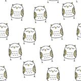 Vector seamless pattern in Scandinavian style. Nice owl. Cartoon print. Vector seamless pattern in Scandinavian style. Nice owl royalty free illustration