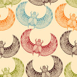 Vector seamless pattern with  scarab beetles Royalty Free Stock Image