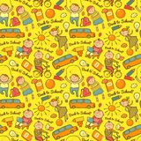 Vector seamless pattern of school, cheerful Stock Photos