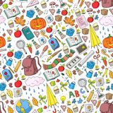 Vector seamless pattern with school and education icons. Vector seamless pattern with school and education icons stock illustration