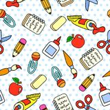 Vector seamless pattern with school stationary stock photos