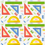 Vector seamless pattern with school stationery items Stock Image