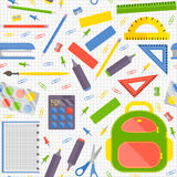Vector seamless pattern with school stationery items Royalty Free Stock Photos