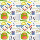 Vector seamless pattern with school stationery items Royalty Free Stock Images