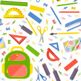 Vector seamless pattern with school stationery items Royalty Free Stock Image