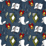 Vector Seamless Pattern with School Supplies Stock Images
