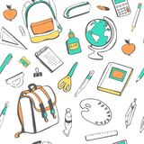 Vector seamless pattern with school supplies on white. Vector seamless pattern with school supplies and accessories on white. Back to school background. Freehand royalty free illustration