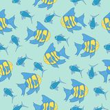 Vector seamless pattern with sea cartoon fish in the ocean stock illustration