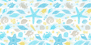 Vector seamless pattern with sea elements. Stock Photos