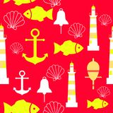 Vector seamless pattern with sea elements: lighthouses, anchors, fish, shell. Can be used for wallpapers, web page. Backgrounds. Eps10 Stock Image