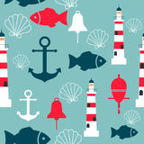 Vector seamless pattern with sea elements: lighthouses, anchors, fish, shell. Can be used for wallpapers, web page backgrounds. Eps10 Royalty Free Stock Photos