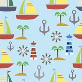 Nautical elements seamless pattern. Sea background. Vector illus Royalty Free Stock Photo