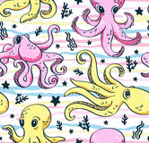 Vector seamless pattern of sea life, octopus and sea plants in bright colors. Stock Image