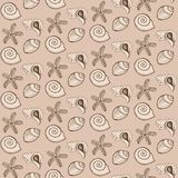 Vector seamless pattern sea shells and starfishes on sandy background for fabrics, backdrop, print stock illustration
