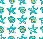 Vector seamless pattern with sea stars Stock Photos