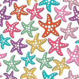 Vector seamless pattern with sea stars Royalty Free Stock Image