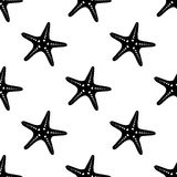 Vector seamless pattern with sea stars. Marine and nautical backgrounds. Sea theme. Vintage illustration in black and white Royalty Free Stock Photography