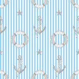 Vector colored seamless pattern on a sea theme. vector illustration