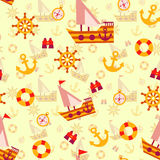 Vector seamless pattern with sea travel elements Royalty Free Stock Photos
