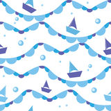 Vector seamless pattern of sea waves and boats Royalty Free Stock Photo